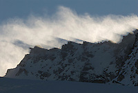 23.11.2008.Snow blowing over the mountain..Gran Paradiso National Park, Italy