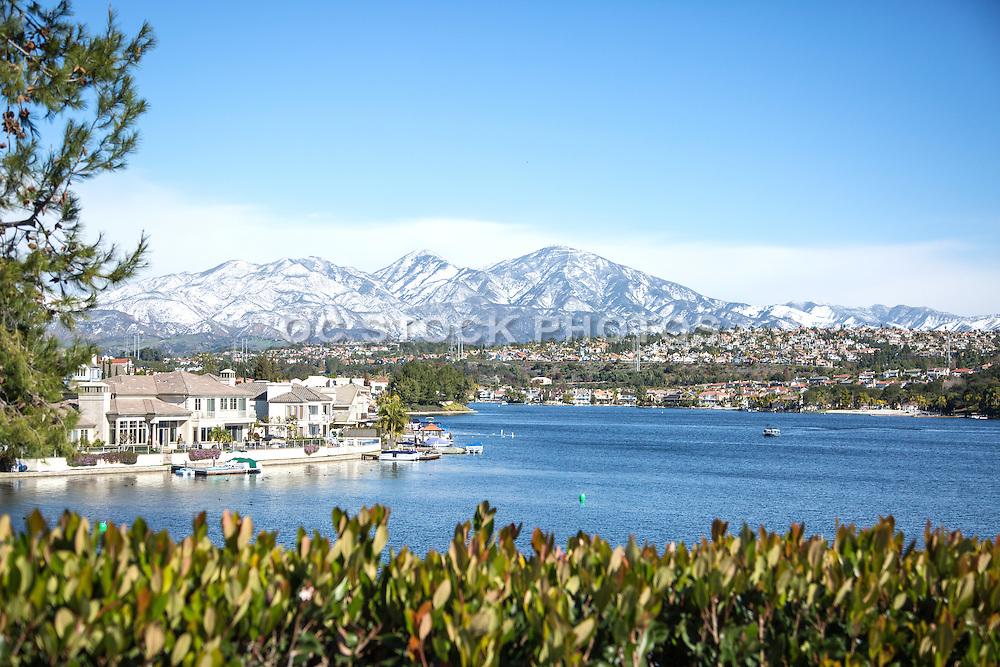 Snow on Santiago Peak at Lake Mission Viejo California