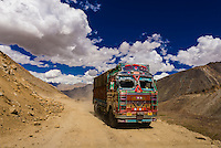 View from Khardungla Pass. At 18,379 feet, the pass is the highest motorable road in the world. Ladakh, Jammu and Kashmir State, India.