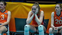 Hyke Lyklema of Netherlands, Britte Stuut of Netherlands, Rixt van der Wal of Netherlands after semi final Netherlands - Serbia, FIVB U20 Women's World Championship on July 17, 2021 in Rotterdam