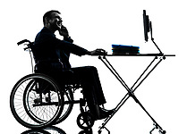 one handicapped business man working in silhouette studio on white background
