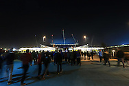 Fans make their way to the stadium - Manchester City vs. CSKA Moscow - UEFA Champions League - Etihad Stadium - Manchester - 05/11/2014 Pic Philip Oldham/Sportimage