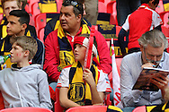 Young Arsenal fan during the The FA Cup match between Arsenal and Aston Villa at Wembley Stadium, London, England on 30 May 2015. Photo by Phil Duncan.