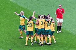 06-07-2011 VOETBAL: FIFA WOMENS WORLDCUP 2011 AUSTRALIA - NORWAY: LEVERKUSEN<br /> Torjubel / Jubel  nach dem 1:1 durch Kyan Simon (Australien) . Kristine Wigdahl Hegland (Norgwegen) ist entaeuscht <br /> ***NETHERLANDS ONLY***<br /> ©2011-FRH- NPH/Mueller