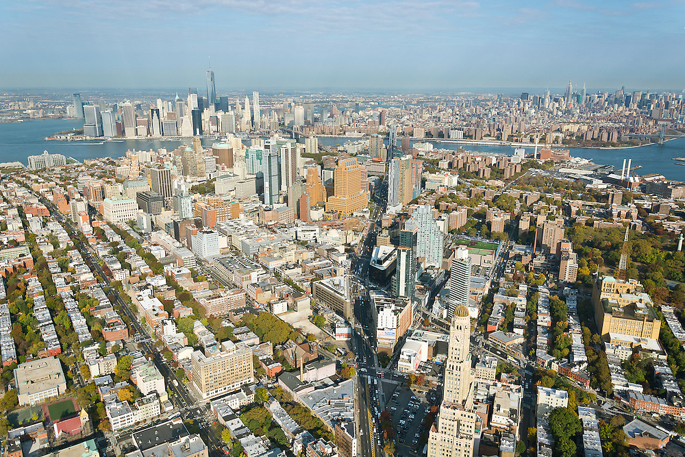 Aerial Photography of Brooklyn commercial real estate with NYC in the background