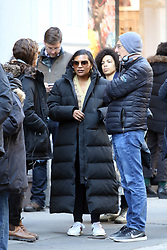 April 18, 2018 - New York, New York, United States - Actress Mindy Kaling was on the set of the new movie 'Late Night' on April 18 2018 in New York City  (Credit Image: © John Sheene/Ace Pictures via ZUMA Press)