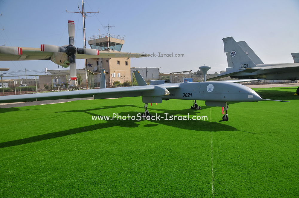 An Israeli Air force (IAF) exhibition. Unmanned Aerial Vehicles (UAV) produced by IAI, Israel Aircraft Industries
