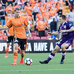 BRISBANE, AUSTRALIA - OCTOBER 30: Thomas Kristensen of the roar passes the ball during the round 4 Hyundai A-League match between the Brisbane Roar and Perth Glory at Suncorp Stadium on October 30, 2016 in Brisbane, Australia. (Photo by Patrick Kearney/Brisbane Roar)