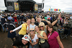 Fans at the main arena at T in the Park, Saturday 7 July 2007..T in the Park festival took place on the 6th, 7th and 8 July 2007, at Balado, near Kinross in Perth and Kinross, Scotland. This was the first time the festival had been held over three days..Pic ©2011 Michael Schofield. All Rights Reserved..