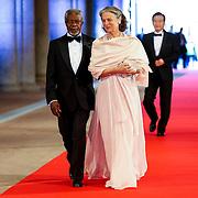 NLD/Amsterdam/20130429- Afscheidsdiner Konining Beatrix Rijksmuseum, Kofi Annan en partner
