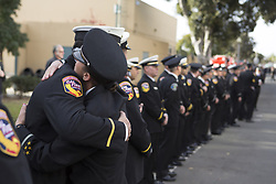 December 24, 2017 - San Diego, California, U.S - Thousands of firefighters and family members gather to celebrate the life of CAL FIRE Engineer Cory Iverson who dead in the line of duty battling the Thomas Fire at Rock Church in San Diego on December 23, 2017 (Credit Image: © Kevin Warn via ZUMA Wire)