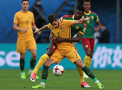 June 22, 2017 - Saint Petersburg, Russia - Mathew Leckie of the Australia national football team vie for the ball during the 2017 FIFA Confederations Cup match, first stage - Group B between Cameroon and Australia at Saint Petersburg Stadium on June 22, 2017 in St. Petersburg, Russia. (Credit Image: © Igor Russak/NurPhoto via ZUMA Press)