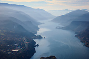 USA, Oregon, Hood River, aerial landscape of Hood River and the Columbia Gorge.