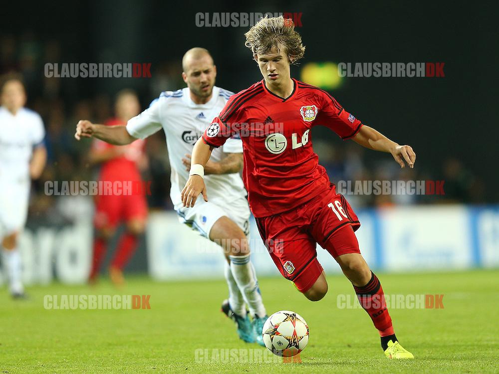 FODBOLD: Tin Jedvaj (Bayer 04 Leverkusen) under UEFA Champions League Play-Off kampen mellem FC København og Bayer 04 Leverkusen den 19. august 2014 i Parken, København. Foto: Claus Birch.
