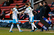 George Francomb replaces Tarryn Allarakhia during the EFL Sky Bet League 2 match between Walsall and Crawley Town at the Banks's Stadium, Walsall, England on 18 January 2020.