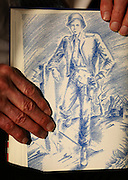This sketch of Harmon was made by friend and fellow soldier Bob Dinsmore during the war. (Erika Schultz/The Seattle Times)