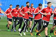 Joe Ledley © of Wales in action during theWales football team training at the Cardiff City Stadium in Cardiff, South Wales on Wed 23rd March 2016. The team are preparing for their forthcoming friendly against Northern Ireland.<br /> pic by  Andrew Orchard, Andrew Orchard sports photography.