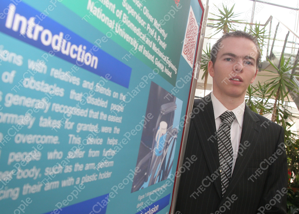 NUI Galway engineering student Oliver McCarthy from Doonbeg, with his project which is a self-locking medicine cabinet.