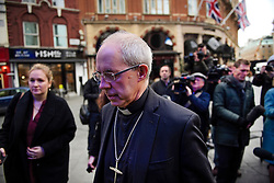 "© Licensed to London News Pictures. 02/02/2017. London, UK. Archbishop JUSTIN WELBY talks to media as he leaves the studio for LBC radio in London following a radio phone-in. Archbishop Welby has issued an ""unreserved and unequivocal"" apology on behalf of the Church of England after admitting links to a 'child abuser'. Photo credit: Ben Cawthra/LNP"