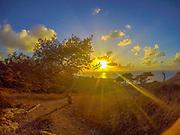 Yellow sun rays at sunset over the Mediterranean Sea