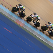 Ashlee Ankudinoff, Amy Cure and Katherine Bates, Australia, in action during the Women's 3000m Team Pursuit at the 2012 Oceania WHK Track Cycling Championships, Invercargill, New Zealand. 21st November 2011. Photo Tim Clayton...