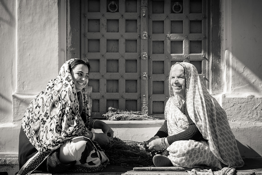 Two Rajasthani women in traditional dress on doorstep picking chickpeas from branches