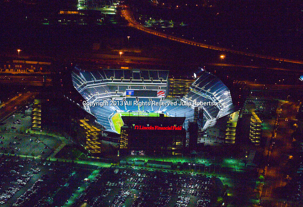 Aerial view of Lincoln Financial Field, all lit up for the Game 4 of the 2008 World Series. Aerial view of the Philadelphia Eagles at Lincoln Financial Field night shot