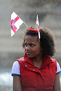 People wearing the St George flag out in London, UK celebrating St. George's Day. Saint George's Day is the feast day of Saint George. It is celebrated by various Christian Churches and by the several nations, kingdoms, countries, and cities of which Saint George is the patron saint. Saint George's Day is celebrated on 23 April, the traditionally accepted date of Saint George's death in 303 AD.