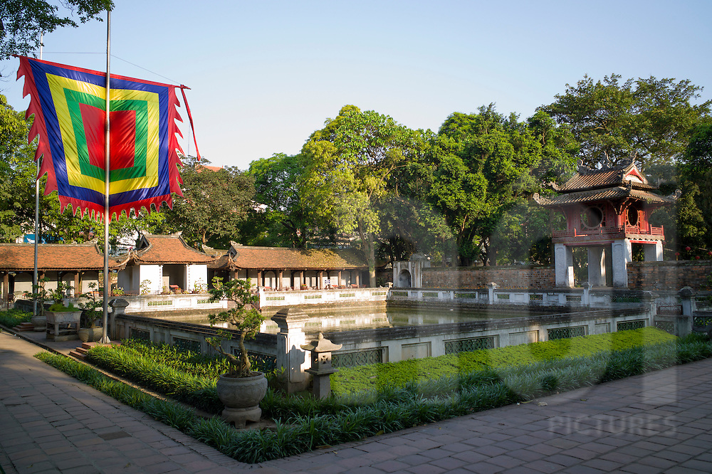 Side view of Khue Van Cac pavilion and lake Thien Quang Tinh, Temple of Literature, Hanoi, Vietnam, Southeast Asia
