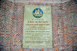 November 22, 2018 - Leiden, Netherlands - Historical marker to the memory of John Robinson, Pastor of the English church in Leiden from 1609 to 1625 on 22th November 2018 in Leiden, The Netherlands. (Credit Image: © Romy Arroyo Fernandez/NurPhoto via ZUMA Press)
