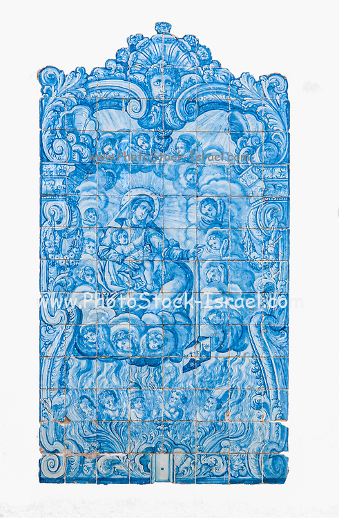 Blue tile decoration (Azulejos) at Praca do Comercio, (Commercial square) old town, Coimbra, Portugal. Cut out on white