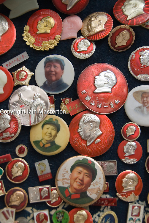 Many antique Chinese badges and buttons from Dongtai Antiques Market in Shanghai