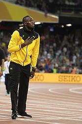 August 13, 2017 - London, STORBRITANNIEN - 170813 Jamaicas Usain Bolt tackar publiken nÅr han gÅ¡r ett Årevarv under dag tio av friidrotts-VM den 13 augusti 2017 i London  (Credit Image: © Joel Marklund/Bildbyran via ZUMA Wire)