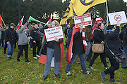 Nov. 11, 2015 - Wegscheid, Bavaria, Germany - GERMANY, Bavaria, Wegscheid; <br /> <br /> Patriotic local Austrians and some supporters of theirs from over the border in nearby Slovenia gather for an anti-immigration rally, as an opposing left wing pro-refugee rally approaches.  The encounter takes place in high in the wine-producing hills and farms of this alpine region which lies on the border of the Slovenian town of Sentilj where a vast refugee processing centre has led to raised tensions around the issue.  <br /> ©Exclusivepix Media
