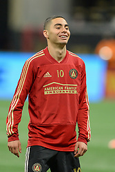 November 11, 2018 - Atlanta, GA, U.S. - ATLANTA, GA Ð NOVEMBER 11:  Atlanta's Miguel Almiron (10) during warm-ups prior to the start of the MLS Eastern Conference semifinal match between Atlanta United and NYCFC on November 11th, 2018 at Mercedes-Benz Stadium in Atlanta, GA.  Atlanta United FC defeated New York City FC by a score of 3 to 1 to advance in the playoffs.  (Photo by Rich von Biberstein/Icon Sportswire) (Credit Image: © Rich Von Biberstein/Icon SMI via ZUMA Press)