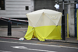 © Licensed to London News Pictures. 01/01/2018. London, UK. The scene where a schoolboy was stabbed to death in Tulse Hill, South London, on New years eve. The boy had been travelling on a bus on Norwood Road when an argument reportedly broke out. Photo credit: Ben Cawthra/LNP