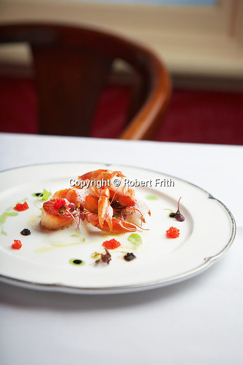 Pan seared scallops, yabbie tail, lemon balm, caviar, beetroot reduction