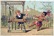 An Electric Shock: Small boy shown giving an native american child a shock with a static eclectic machine. Bon Marche trade card, Paris, late 19th century. Science Electricity; chromolithograph