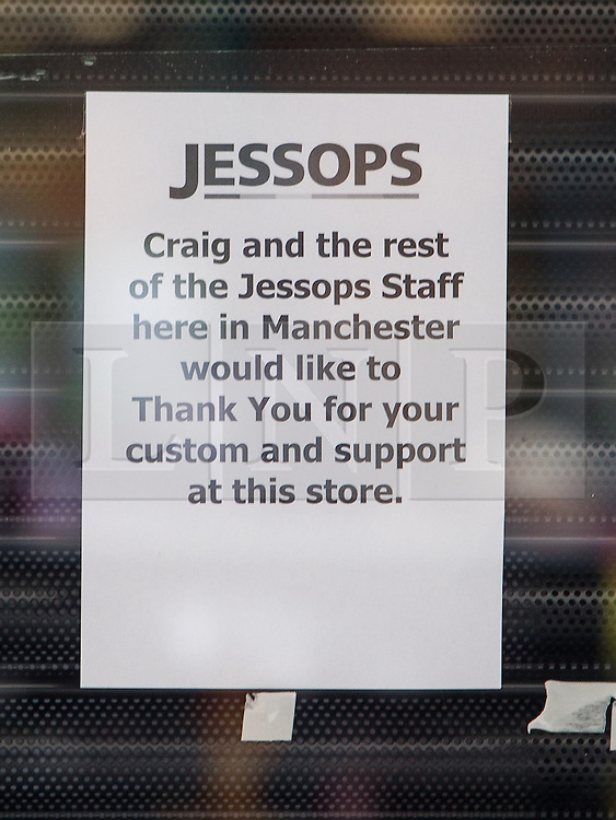 © Licensed to London News Pictures . 08/02/2013 . Manchester , UK . Message in the window of a closed Jessops camera store on Manchester's Market Street . Photo credit : Joel Goodman/LNP