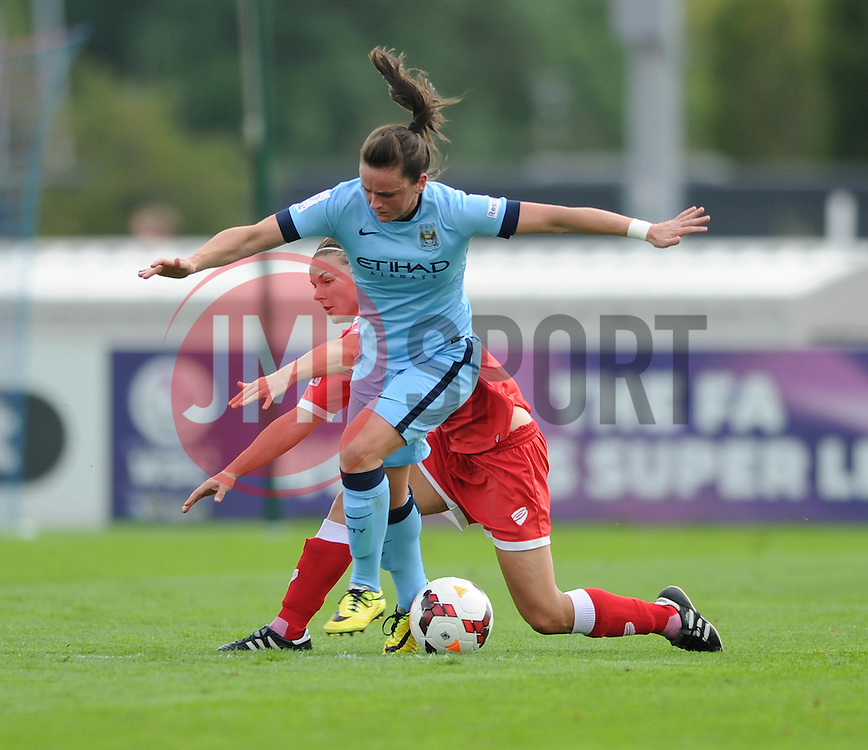 Bristol Academy Womens' Loren Dykes closes down Manchester City Womens' Krystle Johnston - Photo mandatory by-line: Dougie Allward/JMP - Mobile: 07966 386802 - 28/09/2014 - SPORT - Women's Football - Bristol - SGS Wise Campus - Bristol Academy Women's v Manchester City Women's - Women's Super League