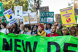 London, UK. 20 September, 2019. Students and climate campaigners, including Anna Taylor, co-founder of UK Student Climate Network, march  during the second Global Climate Strike in protest against a lack of urgent action by the UK Government to combat the global climate crisis. The Global Climate Strike grew out of the Fridays for Future movement and is organised in the UK by the UK Student Climate Network.