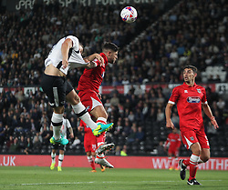 Chris Martin of Derby County (L) heads at goal - Mandatory by-line: Jack Phillips/JMP - 09/08/2016 - FOOTBALL - iPro Stadium - Derby, England - Derby County v Grimsby Town - EFL Cup First Round