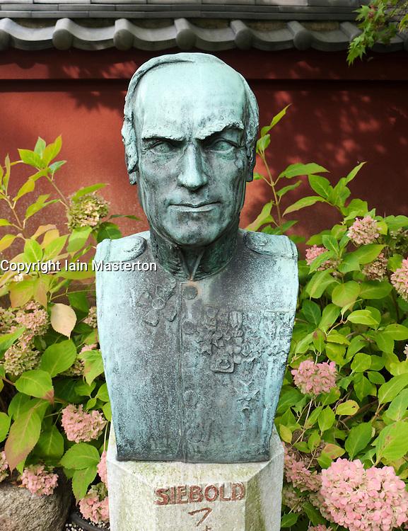 Bust in the Von Siebold Memorial Garden in Hortus Botanicus  in Leiden The Netherlands