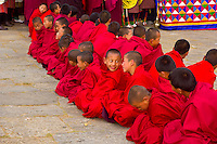 Monks at Shugdrel ceremony, Paro Teschu festival, Paro Dzong Monastery,  Paro Valley, Bhuta