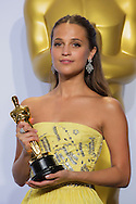 "88th Academy Awards press room.<br /> Actress in a supporting role winner Alicia Vikander for the film ""The Danish Girl."""
