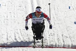 March 14, 2018 - Pyeongchang, GANGWON, SOUTH KOREA - March 14, 2018-Pyeongchang, South Korea- SEO Vo Ra Mi of South Korea action on the slope during an 2018 winter Paralympic Cross-Country Women's 1.1Km Sprint ,Sitting at Alpensia Biathlon Center in Pyeongchang, South Korea. (Credit Image: © Gmc via ZUMA Wire)