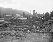 Y-501108-03.  Battle Axe Inn ruins after fire, Government Camp, Mt. Hood, November 8, 1950. (The fire that destroyed the inn happened the day before, November 7, 1950.)