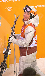 February 11, 2018 - Pyeongchang, South Korea - JUSTINE DUFOUR-LAPOINTEJ of Canada reacts after finding out she had won the silver medal at the Womens Moguls finals Sunday, February 11, 2018 at Phoenix Snow Park at the Pyeongchang Winter Olympic Games.  Photo by Mark Reis, ZUMA Press/The Gazette (Credit Image: © Mark Reis via ZUMA Wire)