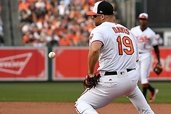 March 29, 2018 - Baltimore, MD, U.S. - BALTIMORE, MD - MARCH 29: Baltimore Orioles first baseman Chris Davis (19) cannot handle a ground ball in the ninth inning during the Opening Day game between the Minnesota Twins and the Baltimore Orioles on March 29, 2018, at Orioles Park at Camden Yards in Baltimore, MD.  The Baltimore Orioles defeated the Minnesota Twins, 3-2 in eleven innings.  (Photo by Mark Goldman/Icon Sportswire) (Credit Image: © Mark Goldman/Icon SMI via ZUMA Press)