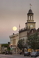 Autumn moon rising above downtown Geneva, Illinois